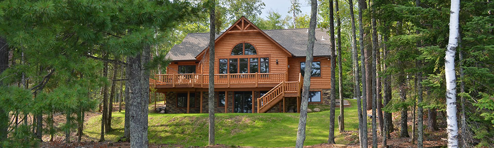 Clearwater lake new log home for sale with walkout basement for New homes with walkout basement